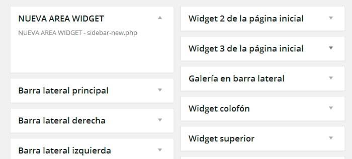 Nueva área de widget en wordpress